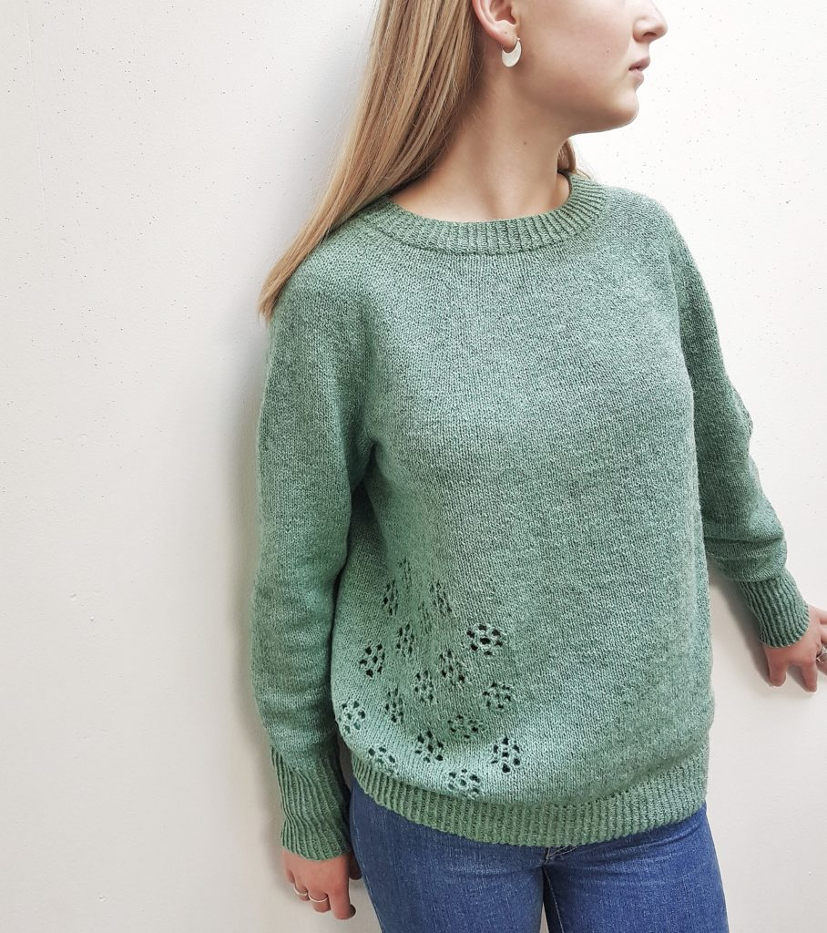 Grøn sweater, flower